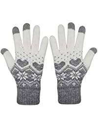 Men Women Girls Cute Snowman Touch Screen Warm Winter Knit Gloves Soft Snowflake Mittens for Phones iPad Laptop