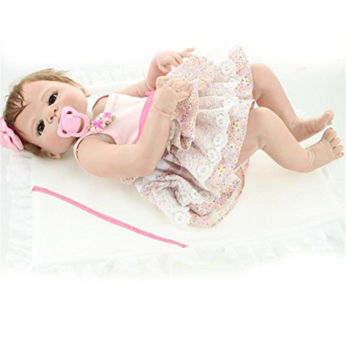 [Full Body Soft Silicone Baby Dolls Pink Condole Belt Skirt 23-Inch Fan Moon] (Cabbage Head Costume)