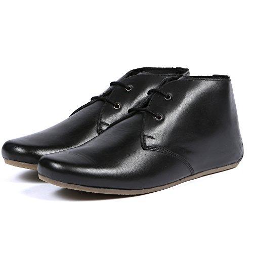 Aspele Womens Ladies Tan/Black Chelsea Flat Heel Leather Lace up Boots Black
