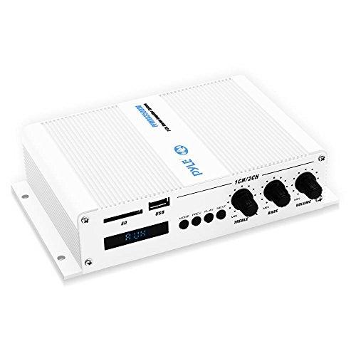 Pyle Home Marine Car Amplifier - 2-Channel Bridgeable Compact 200 Watt RMS 4 OHM Full Range Monoblock Stereo & Waterproof - Wireless Bluetooth Receiver Audio Speaker w/LCD Digital Screen (PFMRA350BW) 200w 2 Channel Amp