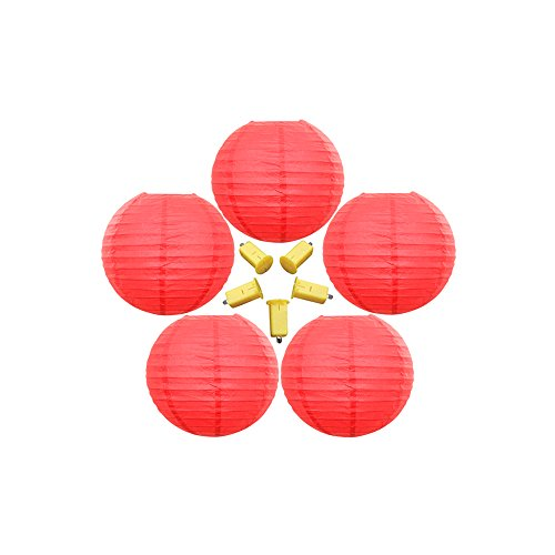 Neo-LOONS-5-Pack-6-Inch-Red-Round-ChineseJapanese-Paper-Lanterns-Metal-Framed-Hanging-Lanterns-with-LED-Lights-For-Home-Decor-Parties-Weddings-and-DIY