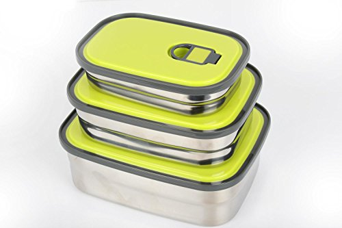Green Rectangle Bento Stainless Steel Food Storage Lunch Box For Kids and Adults (3 In 1)- Air Tight Lids - Dishwasher - Take Fun Camping Things To