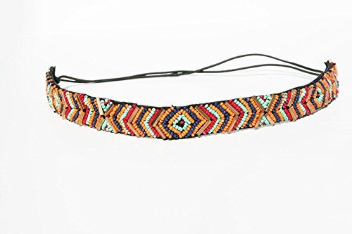 Rainbow Tri Color Beaded Thin Headband. Indian Princess Bohemian Style Headband. Elastic Band to Fit Any Size Head. Comes with Look Guide to Show You Many Styles. - Princess Head Indian