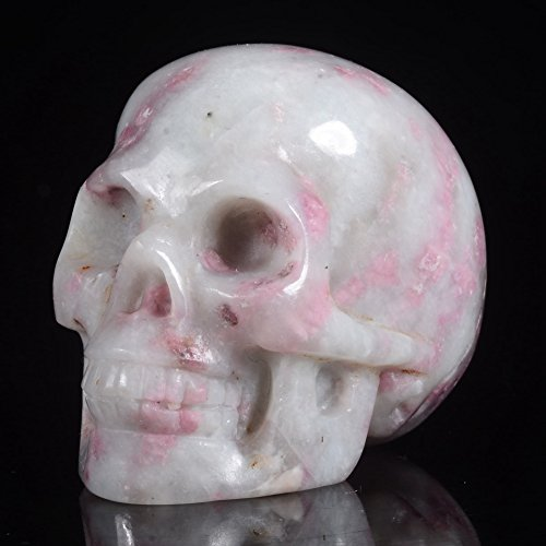 Mineralbiz New Design! 1.8 - 2 Length Natural Pink Tourmaline/Rubellite Carved Crystal Gemstone Human Skull Head Carving Sculpture