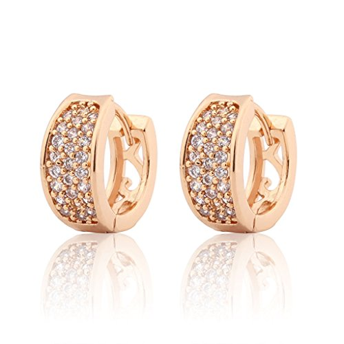 Price comparison product image GULICX Clear Cubic Zirconia Fashion Bijoux 3 Row Hoop Pierced Huggie Earrings Gold Plated Brass