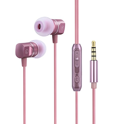 Music Pro Ipod (Earbuds In Ear Headphones Earphones Metal Noise Isolatingfor iPhone iPad iPod Android Smartphones Tablets Laptop Mac Computer MP3/4 Mic Controller Rose Gold Headset Built-in Mic 3.5mm)