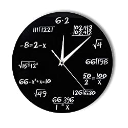 WANGXJ Engineering Numbers Math Wall Clock Math Equation Decorative Clock Pop Quiz Wall Art Science Gift for Math Geeks and Teachers 30X30Cm
