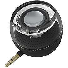Portable Speaker w/ Wireless Speaker Mini Size as Golf Ball but 3W Output in Clear Bass for Any Devices with 3.5mm AUX Audio Port w/ the Built-in Rechargeable Battery. (Black)