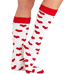 Chrissy's Socks Women's Heart Knee High Socks 7-11 White / Red