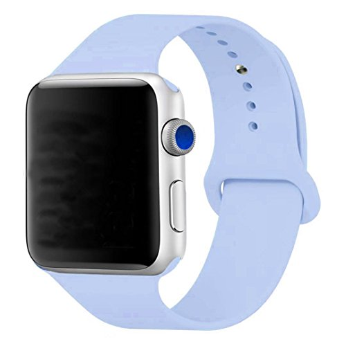 Sport Band for Apple Watch 38mm, Aimote Soft Silicone Replacement Strap for iWatch Nike+ Series 1 Series 2,(Small/Medium Size),38mm Lilac (Light Blue)