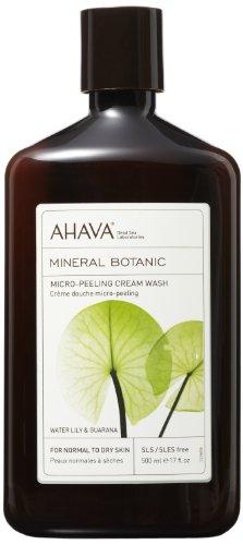 """Ahava Mineral Botanic Velvet Cream Wash - Water Lily & Guarana """"Micro-Peeling"""" - Pour peaux normales à sèches, une bouteille de 17 onces"""