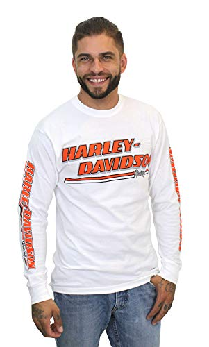 - Harley-Davidson Mens H-D Racing Name White Long Sleeve T-Shirt (Medium)