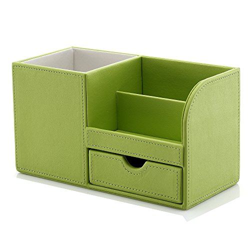 KINGFOM Wooden Struction Leather Multi-function Desk Stationery Organizer Storage Box Pen/Pencil ,Cell phone, Business Name Cards Remote Control Holder Colors (green) (Pen Stylish Holder)