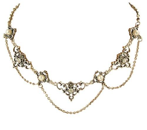 Trachtenschmuck Dirndl Collier Set - klassisch - Kette & Ohrstecker Crystal klar - Strass und Perle