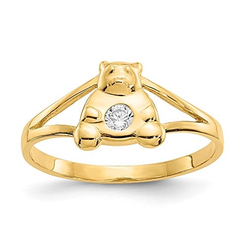 (14k Yellow Gold Cubic Zirconia Cz Teddy Bear Baby Band Ring Size 2.00 Fine Jewelry Gifts For Women For Her )
