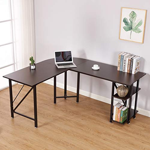 (L Shaped Computer Desk - Bizzoelife Large Corner Desk Gamer Laptop Table 67 + 59 Inches with CPU Stand Storage Shelf for Home Office Working Studying Gaming (Coffee))