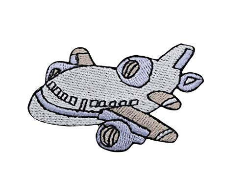 White/Blue - Jet - Airplane/Plane - Iron on Applique/Embroidered Patch