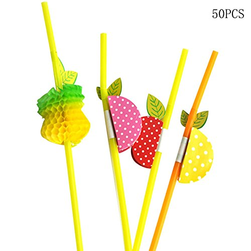 JD Million shop 50pcs/Set Fruit Colorful Plastic Bendy Drink Straws Mixed Colours Party Disposable Drinking Straws Party Cocktail Straws