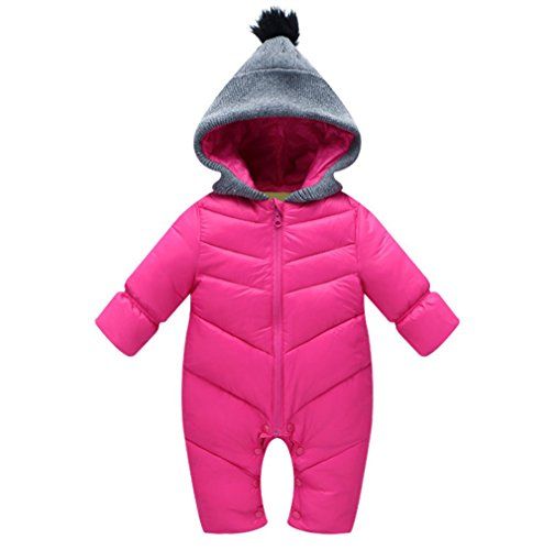 MNLYBABY Unisex Baby Hooded Puffer Jacket Jumpsuit Winter Warm Snowsuit Romper, Rose Red, 12-18 Months, Tag size L