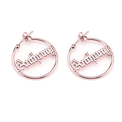 Personalized Earring Name Jewelry Plate (Personalized Old English Hoop Name Earrings for Women Gothic Style Custom Nameplate 925 Sterling Silver Earring (Rose Gold))