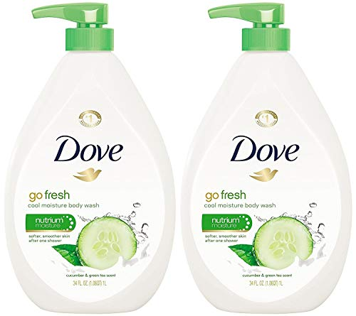 Dove Go Fresh Cool Moisture Body Wash, Cucumber and Green Tea Pump 34 Ounce (Pack of 2)