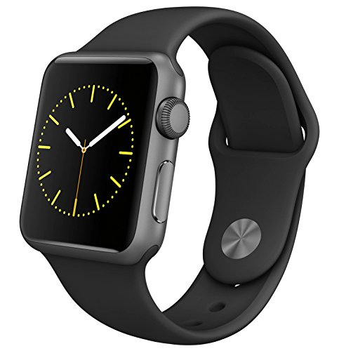 Apple Watch Series 1 (GPS, 38MM) - Space Gray Aluminum Case with Black Sport Band (Renewed)