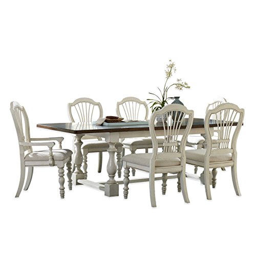 7-Piece Trestle Dining Set with Wheat Back Chairs in Old White