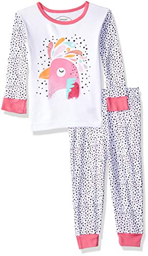 LAMAZE Baby Girls Organic 2 Piece Longsleeve Tight Fit Pajamas Set, White Bird, 18M