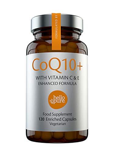 Coenzima Q10 100 mg, 120 cápsulas de alta absorción | CoQ10 de calidad superior con vitamina C y E para aumento de Co-Q10 1