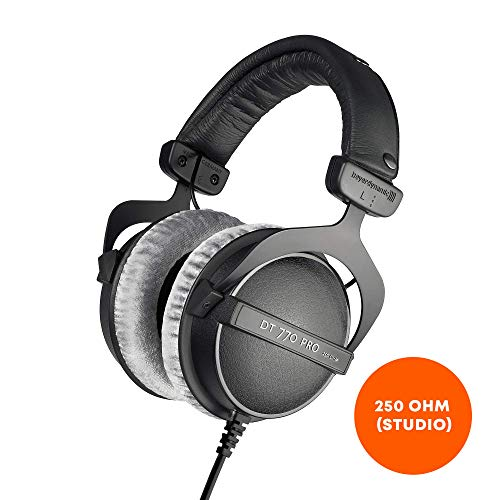 beyerdynamic DT 770 PRO 250 Ohm Over-Ear Studio Headphones in Black. Closed Construction, Wired for Studio use, Ideal for Mixing in The Studio