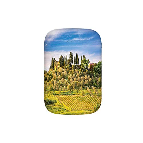 (Green Field Tranquil Landscape Retro Stone Toscana Farmhouse Vineyard Portable Charger 8000mAh Power Bank External Battery Backup Pack Fast Charger for iPhone,Samsung Galaxy and More)