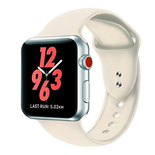 Antique Apple - Ymaer Sport Band for Apple Watch Band, Soft Silicone Replacement Wristband Classic Sport Strap for iWatch 2017 Apple Watch Series 3/2/1, Edition, Nike+, All Models (38MM S/M, Antique White)