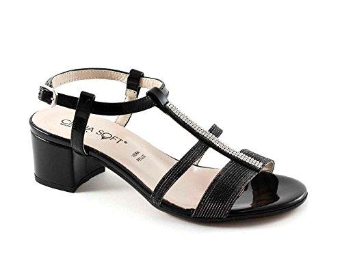 Cinzia Suave 68555 Sandalias de Los Zapatos de Las Mujeres Negras Correa de Cuero Talón de Diamantes de Imitación Nero