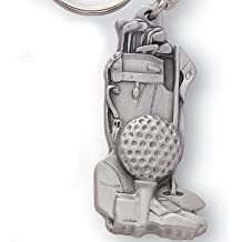 Golf Bag and Ball Antique Pewter Finish with Split Keyring and Chain - Pack of 6