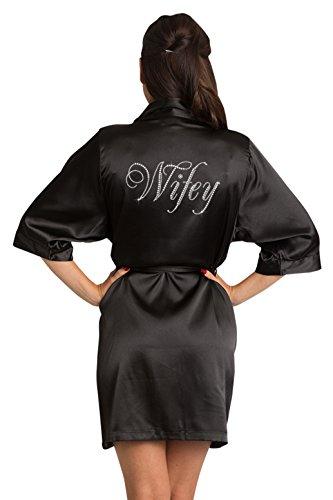 Zynotti Womens Black Satin Wifey Robe with Dazzling Rhinestones S/M 2-12