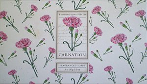 : Penningtons Of Bath Carnation Soap Gift Set 3 X 5.3oz. From England