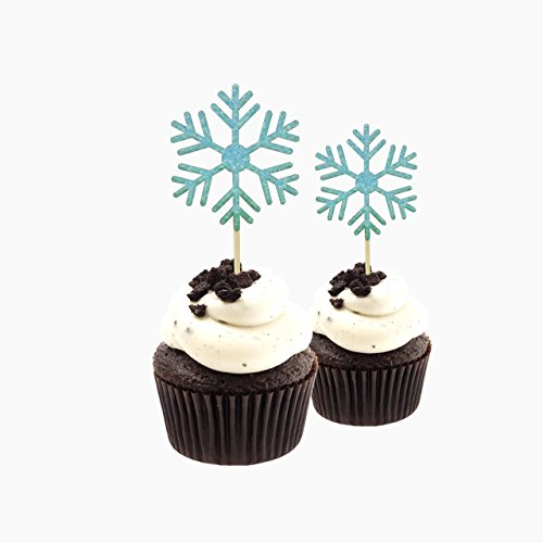 Snow Flake Tree xmas tree Merry Xmas Cupcake Topper Glitter Card Stock Light Blue 12 pieces per Pack (Card Topiary)