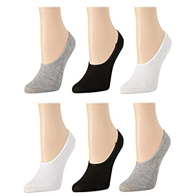 Body Glove Women's No Show Non-Slip Grip Liner Socks With Reinforced Heel And Toe (6 Pack), Assorted, Size Shoe Size: 4-10 at Women's Clothing store
