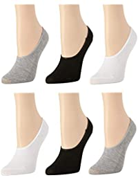 Women's No Show Non-Slip Grip Liner Socks With Reinforced Heel And Toe (6 Pack)