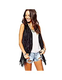 ANBOO Women Cowboy Style Faux Suede Ethnic Sleeveless Tassels Fringed Vest Cardigan