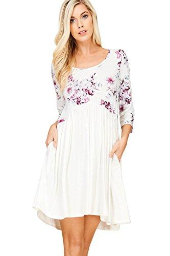 Annabelle Women's Empire Waist Floral Print Dress Scoop Neck Purple Medium D5369