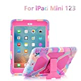 ACEGUARDER iPad Mini Case - Full Body Protective Premium Soft Silicone Cover with Screen Protector & Adjustable Kickstand for iPad Mini 1 2 3 (PinkCamo Rose)