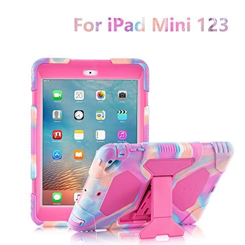 ACEGUARDER iPad Mini Case, Full Body Protective Premium Soft Silicone Cover with Screen Protector & Adjustable Kickstand for iPad Mini 1 2 3 (PinkCamo/Rose)