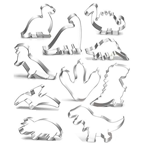 Dinosaur Cookie Cutter Set - 10 Pcs - Brontosaurus,Camarasaurus,Stegosaurus,T-Rex,Triceratops,Pterodactyl and Dinosaur Footprint Cookie Cutter mold for Kids Birthday and Dinosaur Party Supplies Favors