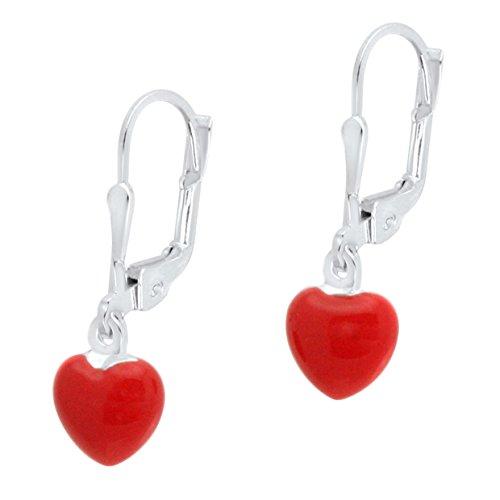 Kids Red Italian Charm (UNICORNJ Sterling Silver Childrens Earrings Leverback with Enamel Red Heart)
