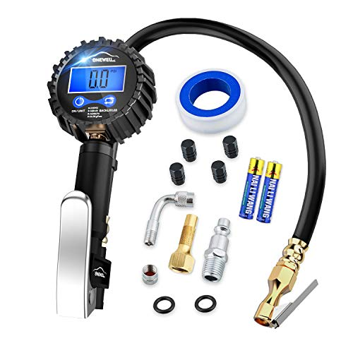 Digital tire inflator with Pressure Gauge,Accurate 0.1 Display Resolution 235Psi Heavy Duty Air Chuck and Compressor Accessories with Rubber Hose and Quick Connect Plug for Truck,Cars and Motorcycle (Blue Point Air Tools)