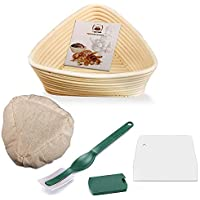 WERTIOO Banneton Bread Proofing Basket + Dough Scorer + Linen Liner Cloth for Professional & Home Bakers Sourdough Recipe