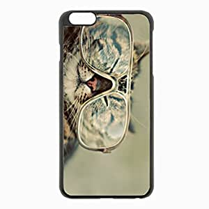 iPhone 6 Plus Black Hardshell Case 5.5inch - glasses squint Desin Images Protector Back Cover