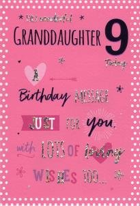 To A Wonderful Granddaughter On Your 9th Birthday Card