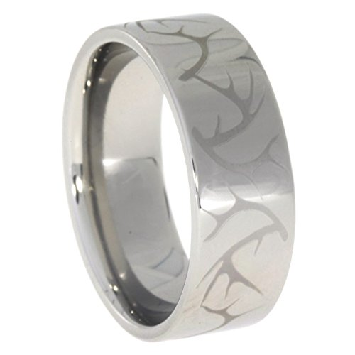 Engraved Deer Antler Pattern 8mm Comfort Fit Titanium Band, Size 16 by The Men's Jewelry Store (Unisex Jewelry)
